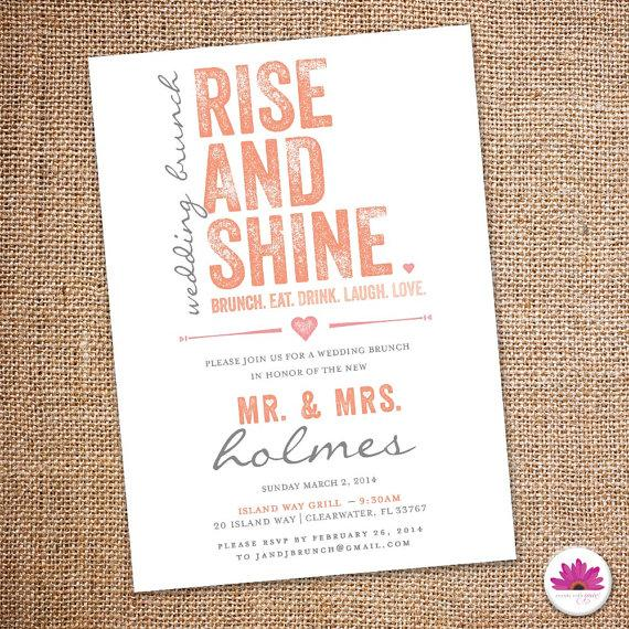 rise and shine- wedding brunch invitation 5 x 7 (digital file,