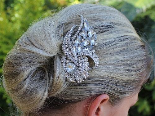 Свадьба - Crystal Bridal Hair Comb, Bridal Hair Accessory, Statement Crystal Wedding Hair Comb, Bridal Accessory, AMANDA