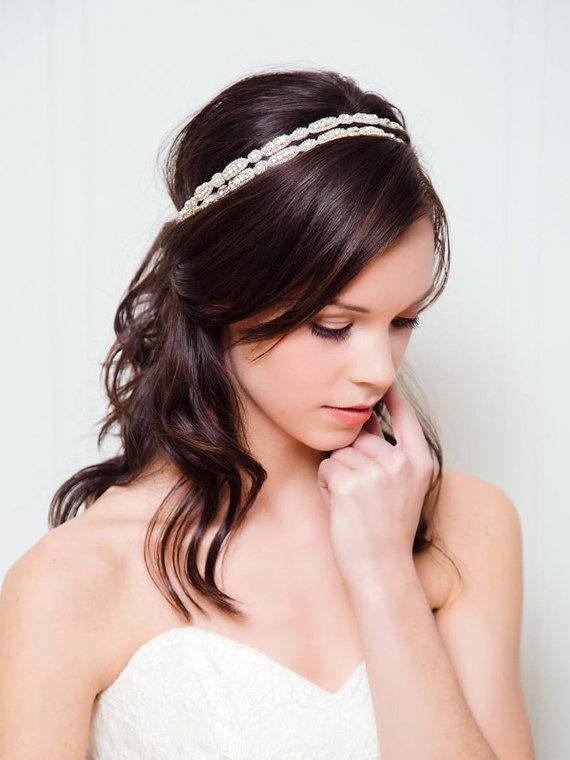 Свадьба - Double Rhinestone Bridal Headband