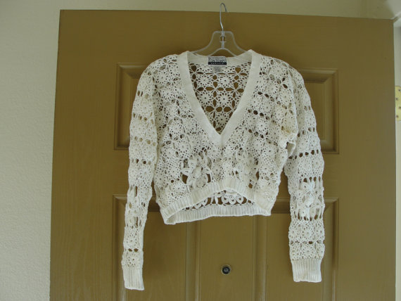 "Wedding - Vintage 80s 90s 1980s 1990s Contempo Casuals size labled as ""one size"" small medium Large cropped half shirt crop top hand knit crocheted"