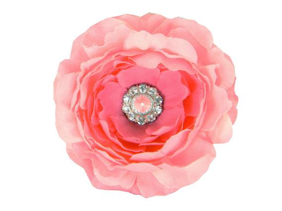 Свадьба - Pink Rhinestone Dog Collar Flower, Collar Attachment: Ruffled Rani in Blush