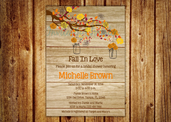 wood grain fall in love bridal shower invitation digital file diy printable wedding baby shower birthday