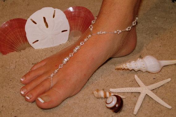 Wedding - Barefoot Sandal - Simply Elegant  White Pearls Silver Beads Swarvoski Crystals IIII Destination Wedding, Beach Bridal Shoes, Glass Slipper