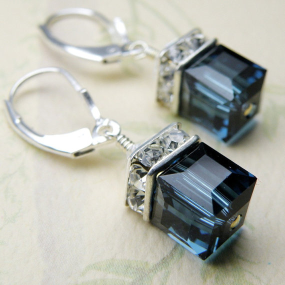 Свадьба - Sapphire Blue Earrings, Cube Swarovski Crystal, Sterling Silver, Drop Wedding Jewelry, Bridesmaid, September Birthday Birthstone, Handmade