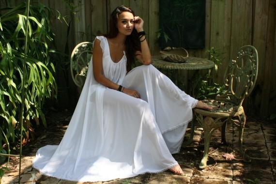 زفاف - Bridal Nightgown Wedding Lingerie Full Swing White Nylon Waiting in the Shadows of Moonlight Honeymoon Romance  Nightgown