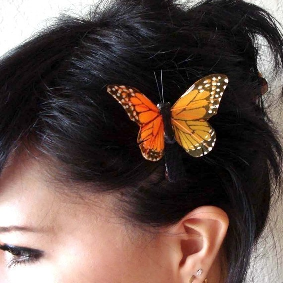 Свадьба - feather butterfly hair clip - monarch butterfly hair clip - bohemian hair accessory - orange butterfly clip - women's accessory - MARGARET