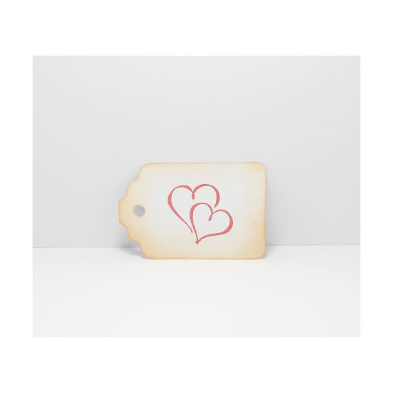 Mariage - 25 Distressed Heart Tags -  Love Gift Tags - Shabby Tags - Wish Tree Tags - Valentine Tags - Wedding Tags - Favor Tags