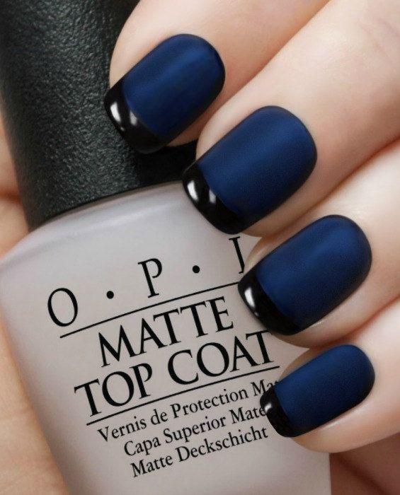 Matte Navy Reverse Tuxedo~OPI Russian Navy, Black Onyx, Matte TC ...