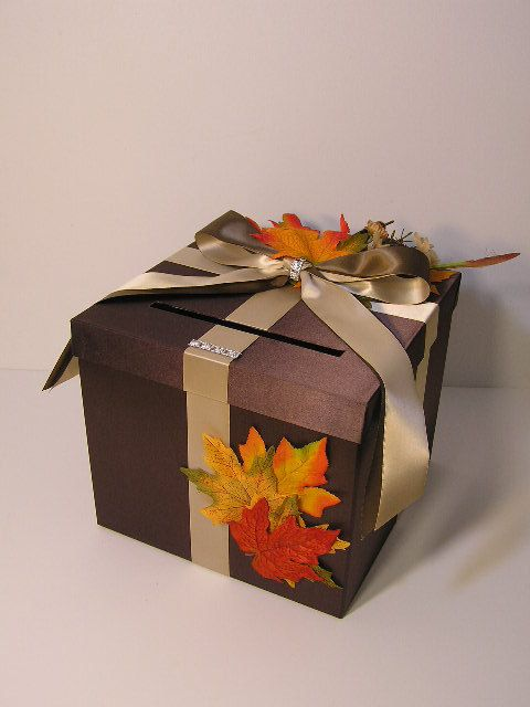 زفاف - Fall Wedding Card Box Gift Card Box Money Box Holder-Customize/made To Order (10x10x9)