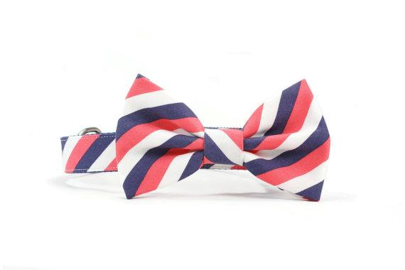 Свадьба - Coral and Navy Dog Bow Tie Collar Wedding Striped Dog Bowtie Collar - Gabriel