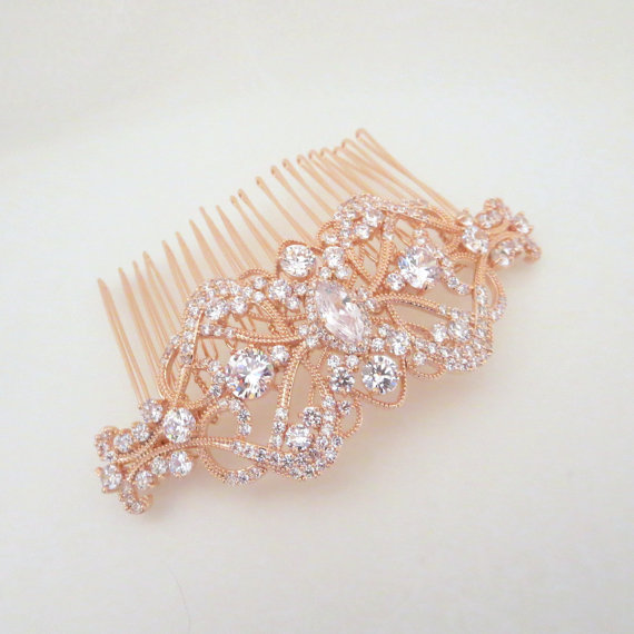 Hochzeit - Rose gold wedding hair comb, Bridal hair comb, Rhinestone hair comb, Art Deco hair comb, Vintage style hair comb