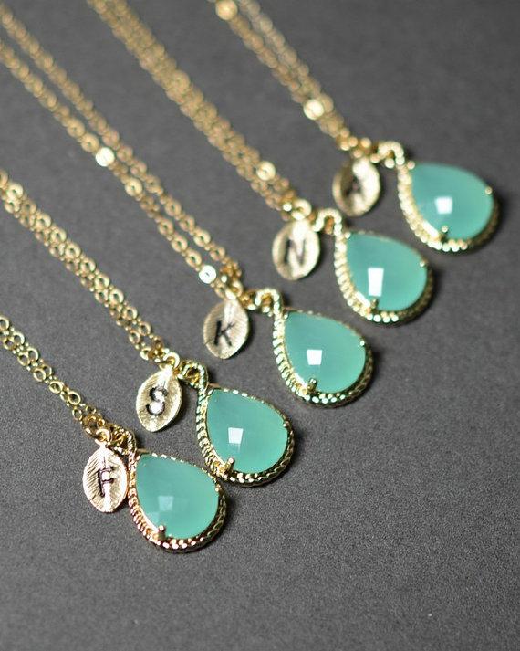 Mint Opal Green Gold Necklace Bridesmaid Wedding Bridal Bridesmaid