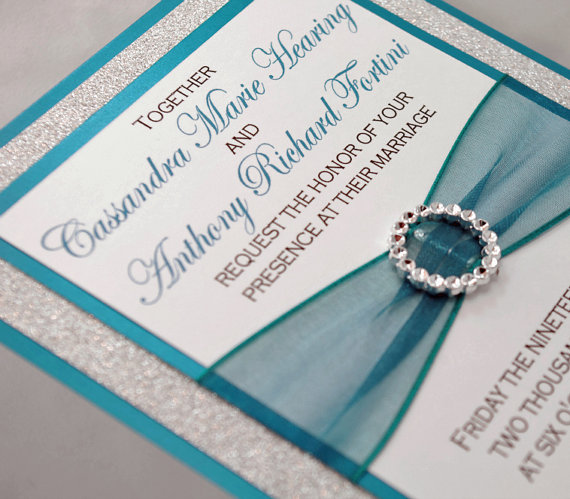 DIY Teal Wedding QuinceaeraSweet Sixteen Invitation Full Of Bling