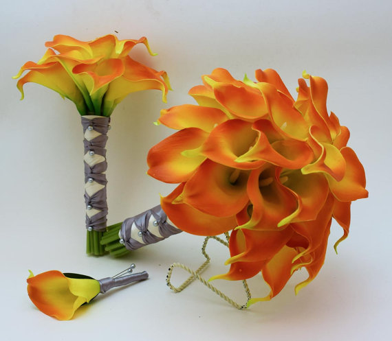 Свадьба - Reserved - Real Touch Calla Lily Wedding Package Bridal Bouquet Maid of Honor Groom Best Man Boutonnieres Flame Orange Silver Gray Ribbon