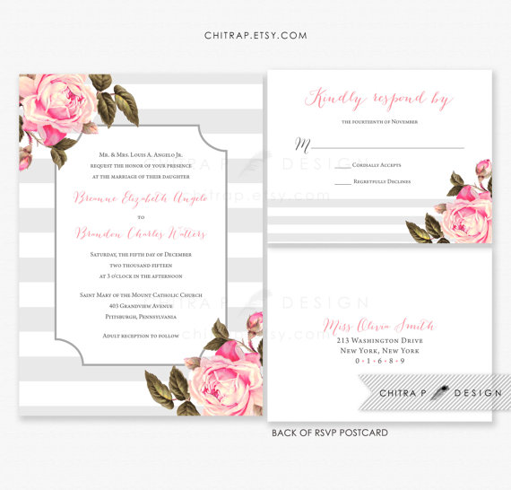 pink grey wedding invitation rsvp postcard printed blush silver striped floral invite english rose bridal shower summer fall