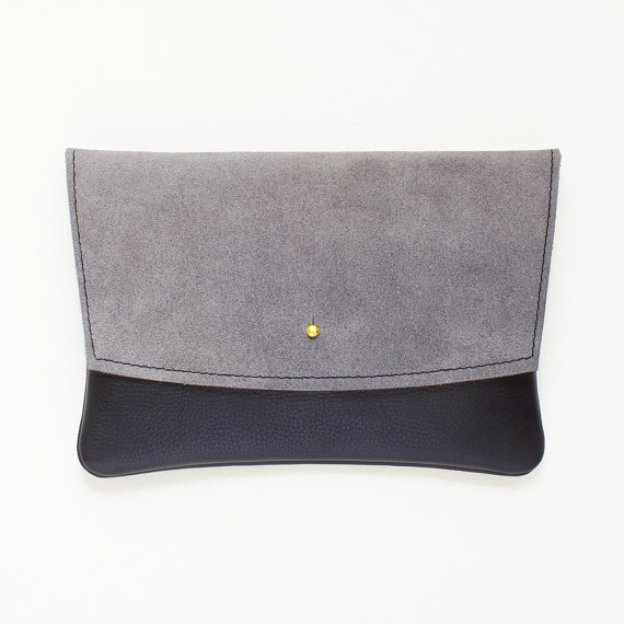 زفاف - Grey Suede and Black Leather Envelope Clutch, Minimal Clutch, Evening Clutch, Wedding Clutch