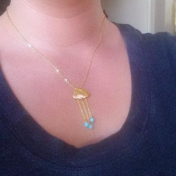 زفاف - Necklace, Geometry, Statement Necklace, Pendant, Modern, Minimal, Minimalist Jewelry, Wedding Jewelry, Everyday necklace, Cloud, Blue