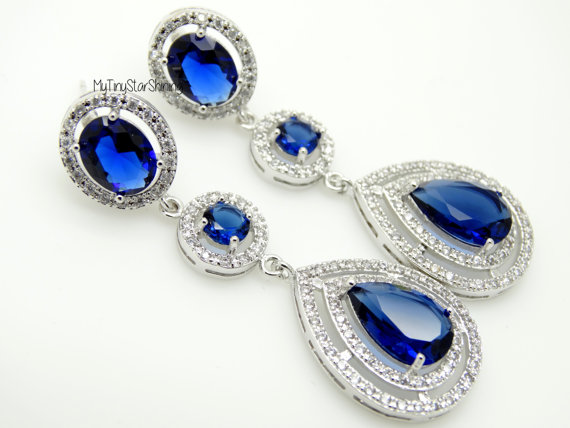 Navy Blue Earrings Royal Bridal Wedding Dangle Jewelry Oval And Round Cubic Zirconia