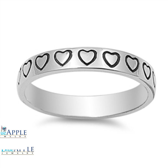 Mariage - 4mm Heart Band Solid 925 Sterling Silver Heart Band Ring Wedding Engagement Anniversary Promise Band Mothers day Valentines Love Gift 4-16