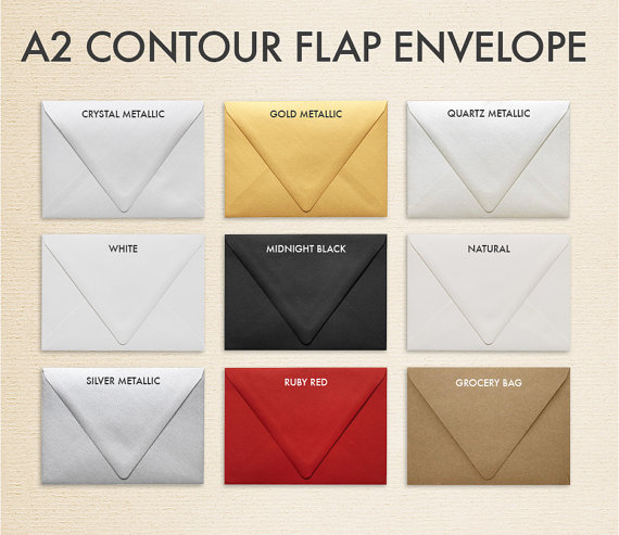Mariage - A2 Contour Flap Envelopes (4 3/8 x 5 3/4) - Pick A Color (50 Qty.)