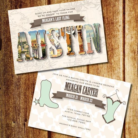 Mariage - Texas Bachelorette Weekend Invitation