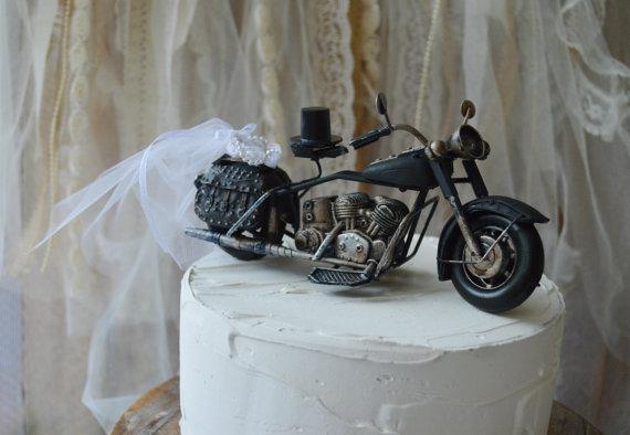 Motorcycle Ring Holder Pillow Cake Topper Bearer Harley Davidson Bride Groom Rider Themed Wedding Custom