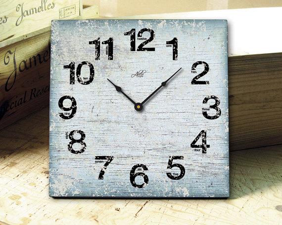 Свадьба - LONDON  - 13in Square Wall Clock in White, Blue, Black. Vintage. Rustic. Nursery Decor. Office Clock. Bridesmaid Gift. Groomsmen Gift