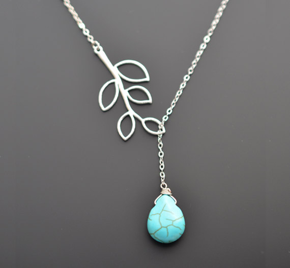 Wedding - SALE,Turquoise necklace,Branch necklace,Silver necklace,Lariat necklace,Bridal necklace,Wedding necklace,Anniversary gift,Christmas Necklace