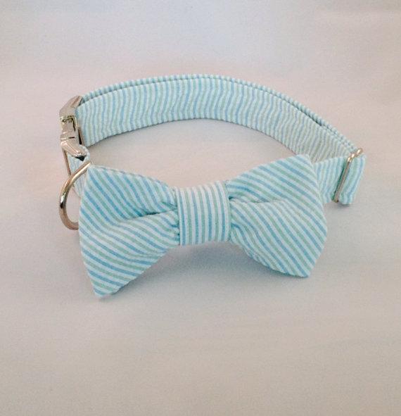 Wedding - Preppy Mint Green Seersucker Bow Tie Dog Collar, Preppy Dog Bowtie Collar, Striped Dog Bow Tie Collar, Green Dog Bow Tie Collar,