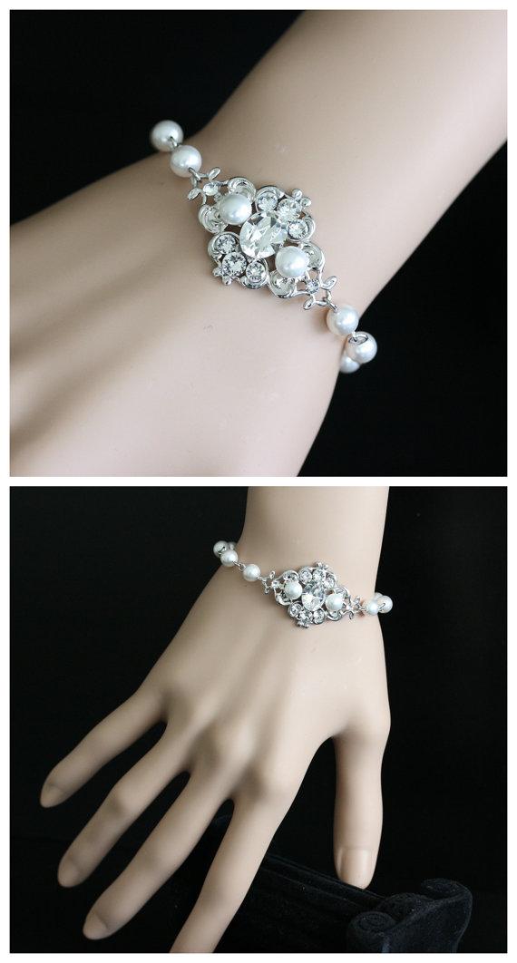 Mariage - White Pearl Bracelet Bridal Bracelet Swarovski Pearl and Crystals Vintage style Bracelet Wedding Jewelry LEILA