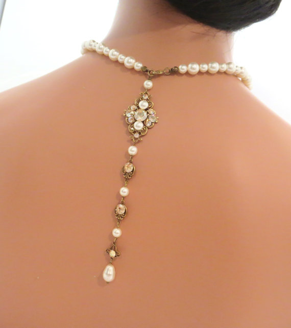 Back drop necklace bridal necklace pearl necklace for Back necklace for wedding dress