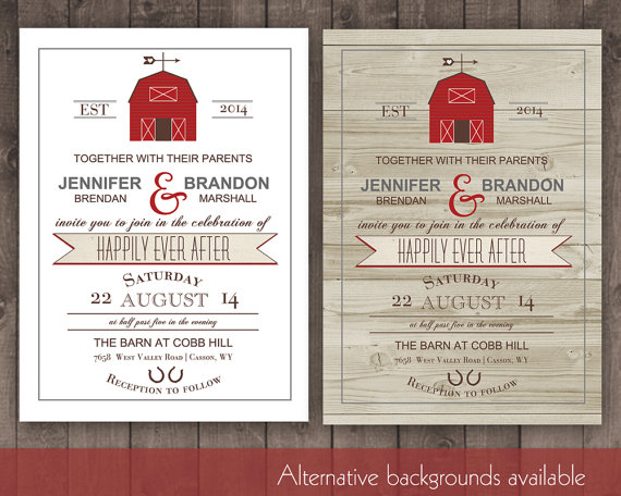 Mariage - Printable Barn Wedding Invitation Rustic Barn Wedding Invitations for Country Weddings and Barn wedding in Barns digital printable file