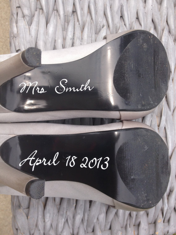 Wedding - FREE SHIPPING! Personalized Wedding Day Shoe Decal - last name and wedding day