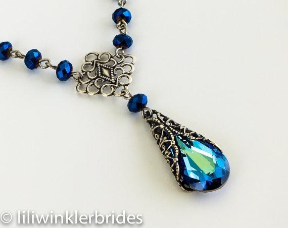 Wedding - Bermuda Blue Necklace, Bridal Necklace, Bridesmaid Gift, Swarovski Crystal Jewelry, Blue Bridesmaid Necklaces