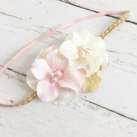 Свадьба - blush ivory cream gold halo style headband-wedding flower girl special occasion-boho style-photography prop