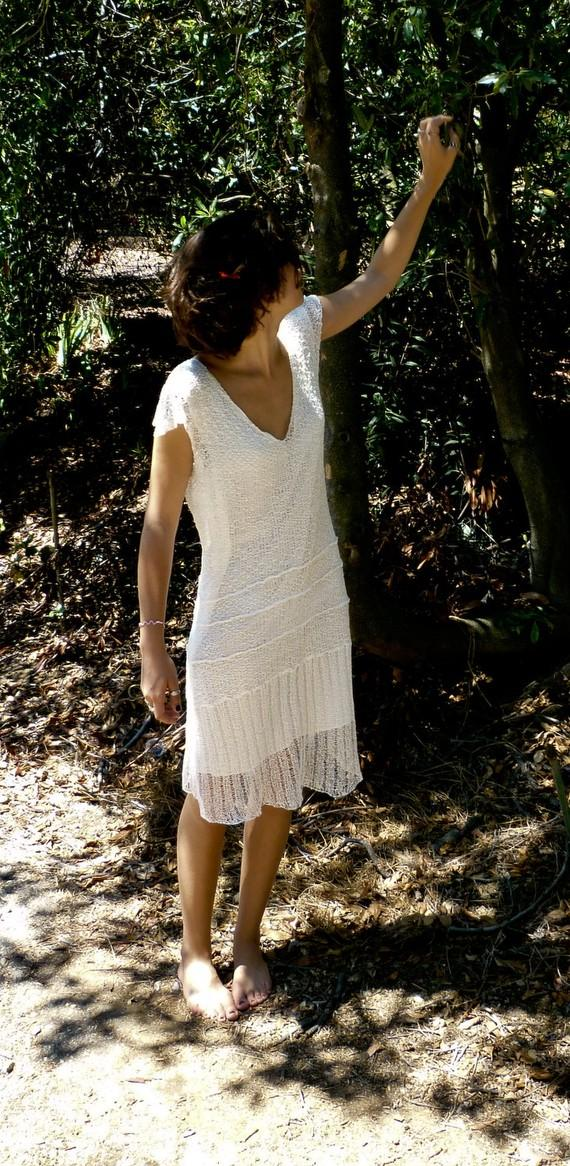Mariage - Knit lace white wedding dress flapper 1920's 20's 20ies art deco