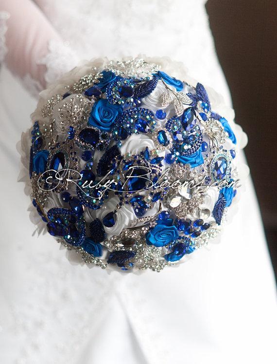 "Wedding - Royal Blue Wedding brooch bouquet. Deposit - ""Blue Diamond"" White and Royal Blue wedding bouquet. Cobalt Bridal broach bouquet"
