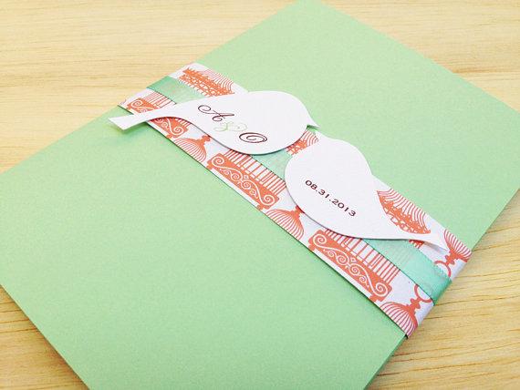 Mariage - Mint and Coral Wedding Invitation Pocketfold, Lovebirds - Sample