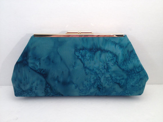 Wedding - Blue lagoon Hand Dyed Clutch Purse with Silver Finish Snap Close Frame, Bridesmaid, wedding, Special Occasion