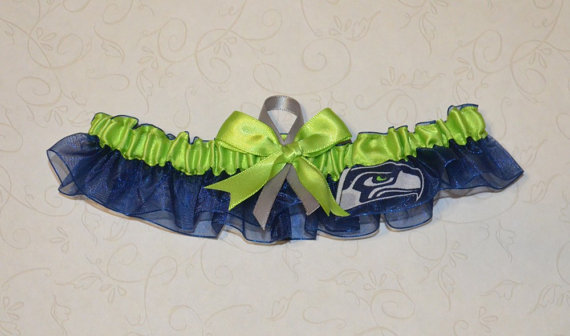 Wedding - Wedding Toss Garter Handmade with Seattle Seahawks fabric LLCM