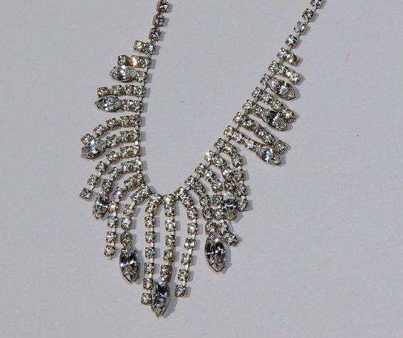 Свадьба - Rhinestone Necklace, Bridal Wedding Necklace, Wedding Jewelry, Vintage Necklace, Vintage Jewelry