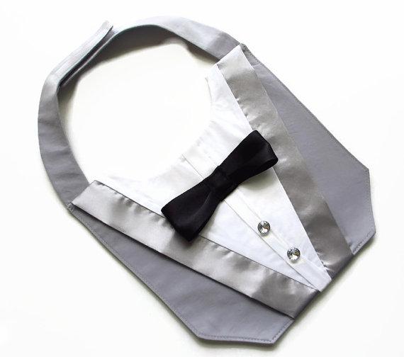 Свадьба - Dog Tuxedo Deluxe Wedding Grey Bandana Vest Photo Op