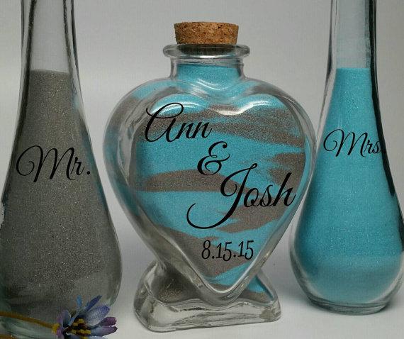 Mariage - Sand Ceremony - Unity Sand Wedding Set - Beach Wedding Decor - Unity Candle Set Alternative - Heart Shaped Jar With Pouring Vases and Sand