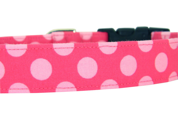 Свадьба - Pink Polka Dot Dog Collar/ Girl Dog Collar: Cotton Candy Dots
