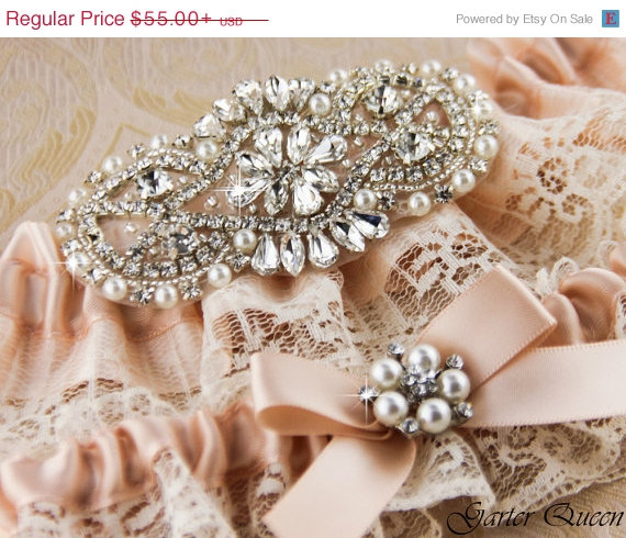 Свадьба - 15% OFF Ivory Garter Set, Blush Wedding Garter Set, Rhinestone Garter, Wedding Garter, Bridal Garter, Custom Color Garters