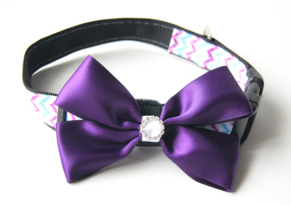 Свадьба - Purple Satin Bow Dog Collar Attachment