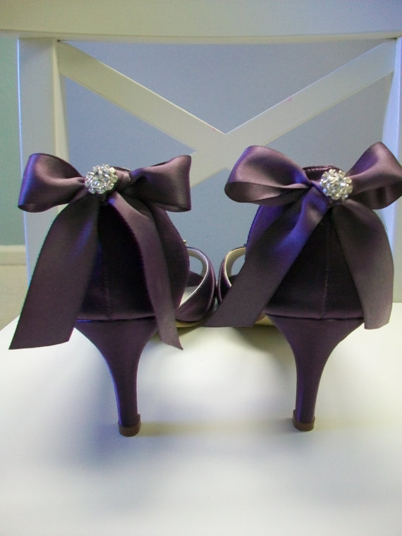 Purple Wedding Shoes   Purple Bows   Crystal   Peep Toe   Bridal Shoes    Dyeable Shoes   Choose From Over 100 Colors   Choose Heel Height