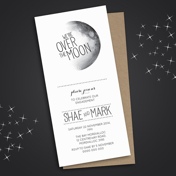 Wedding - Engagement Party Invitation, Engagement Party Invite, Engagement Dinner, DIY Printable, Over the moon