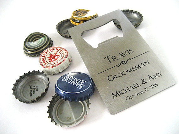 Свадьба - Engraved Bottle Opener - Stainless Steel Opener - Beer Bottle Opener -  Personalized Groomsmen Gift -  Credit Card Opener - Wallet Opener