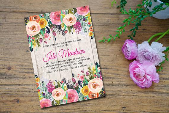 Wedding - Floral Bridal Shower Invitation, Wedding Shower Invitation, Floral Invitation, Rustic Ivitation, Engagement Party - Isla